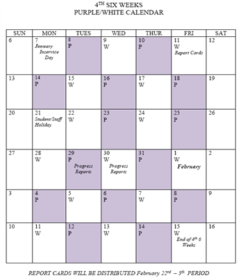4th Six Weeks Purple/White Calendar