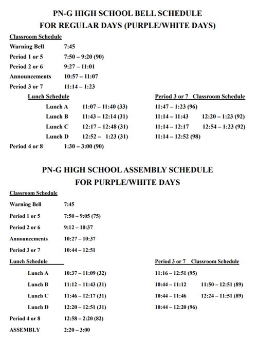 High School Bell Schedules 2017-18